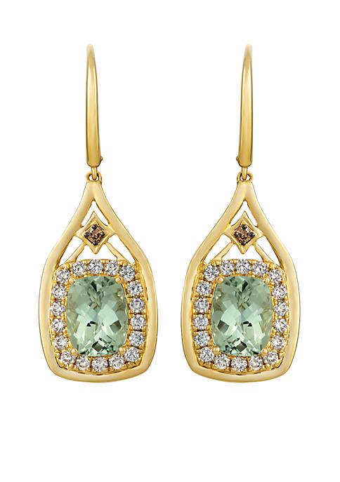 Creme Brulee® 4 ct. t.w. Mint Julep Quartz™, 1/20 ct. t.w. Chocolate Diamonds®, 3/4 ct. t.w. Nude Diamonds™ Earrings in 14K Honey Gold™