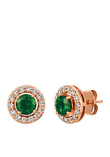 Creme Brulee® 3/4 ct. t.w. Pistachio Diopside®, 3/8 ct. t.w. Nude Diamonds™ Earrings in 14K Strawberry Gold®