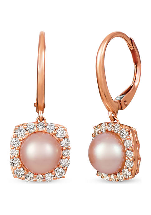 1/2 ct. t.w. Diamond and Pink Pearl Earrings in 14K Rose Gold