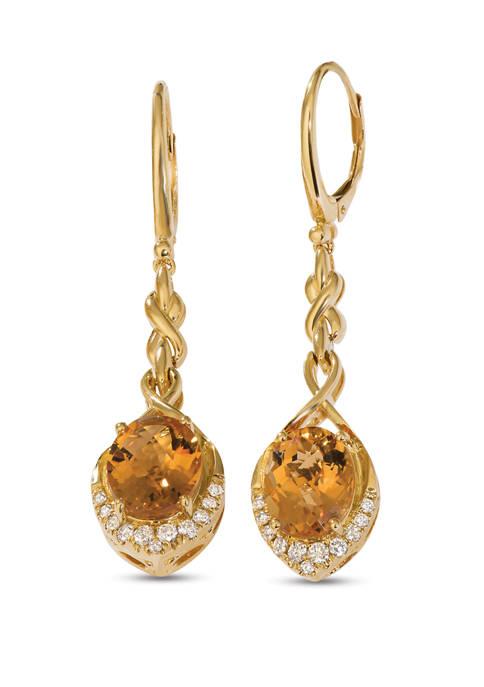Creme Brulee® 4.75 ct. t.w. Cinnamon Citrine®, 1/3 ct. t.w. Nude Diamonds™ Earrings in 14k Honey Gold™