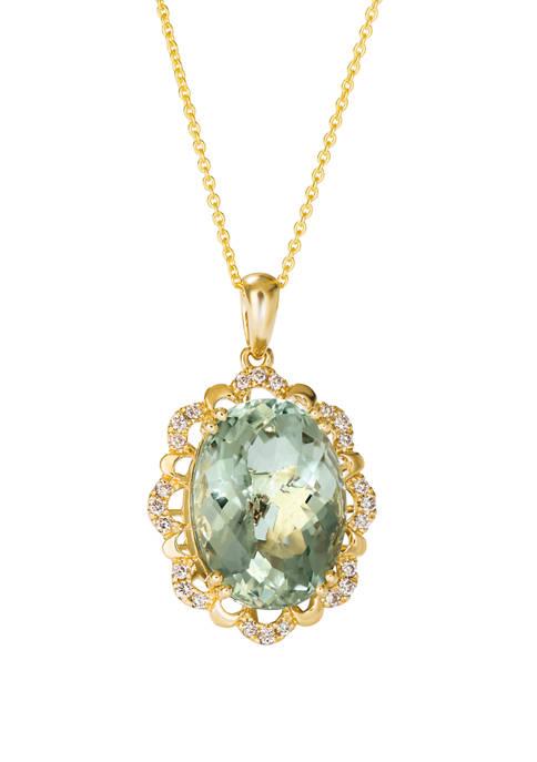 Creme Brulee® 8.75 ct. t.w. Mint Julep Quartz™, 1/5 ct. t.w. Nude Diamonds™ Pendant in 14K Honey Gold™
