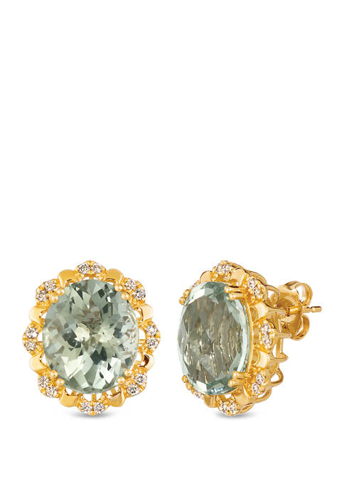 Creme Brulee® 8.0 ct. t.w. Mint Julep Quartz™, 1/4 ct. t.w. Nude Diamonds™ Earrings in 14k Honey Gold™