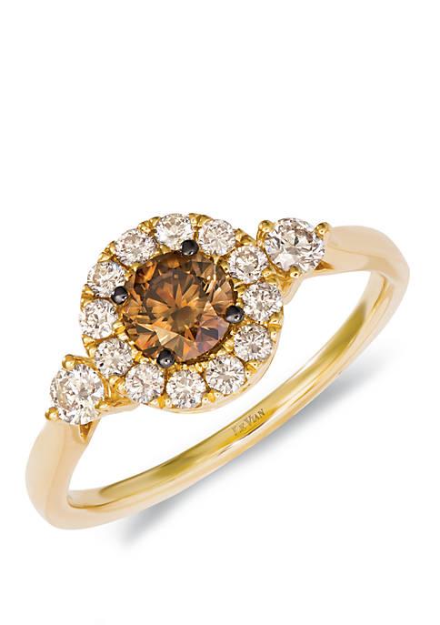 1/2 ct. t.w. Chocolate Diamonds®, 3/8 ct. t.w. Nude Diamonds™ Ring in 14k Honey Gold™