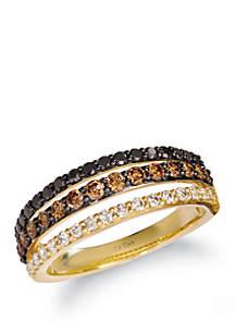 Le Vian® 3/8 ct. t.w. Chocolate Diamonds®, 1/4 ct. t.w. Blackberry Diamonds®, and 1/5 ct. t.w. Nude Diamonds™ Ring in 14K Honey Gold™