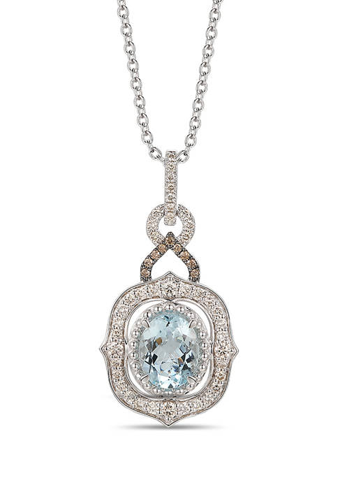 3/4 ct. t.w. Diamond and 2.1 ct. t.w. Aquamarine Pendant Necklace in 14K White Gold
