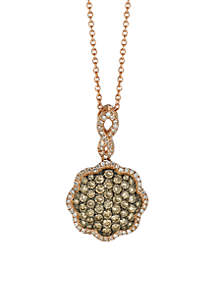Le Vian Chocolatier Chocolate Diamonds and Vanilla Diamonds Pendant in 14K Strawberry Gold