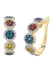 Le Vian Exotics Fancy Diamonds, Red Diamonds, Green Diamonds & Vanilla Diamond Earrings set in 14K Honey Gold