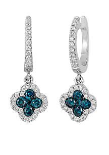 Le Vian Exotics Blue Diamond & Vanilla Diamond Earrings set in 14K Vanilla Gold