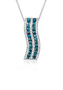 Le Vian Exotics Blue Diamonds and Vanilla Diamonds Pendant set in 14K Vanilla Gold