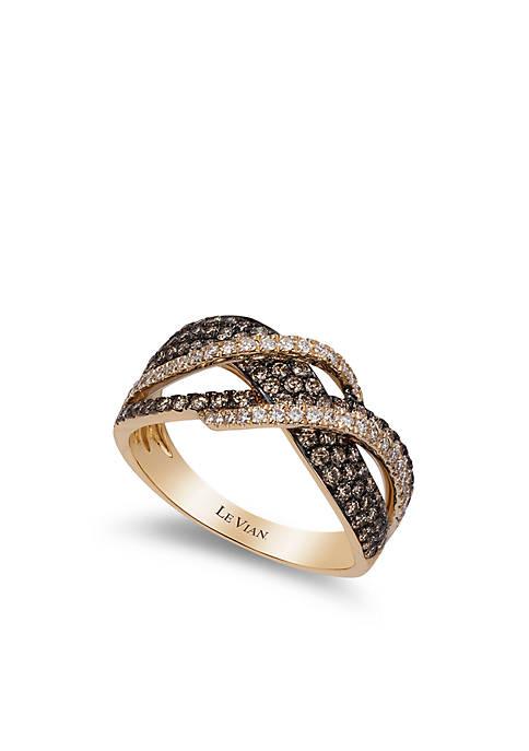 Chocolatier® Ring with Chocolate Diamonds® and Vanilla Diamonds® in 14K Honey Gold