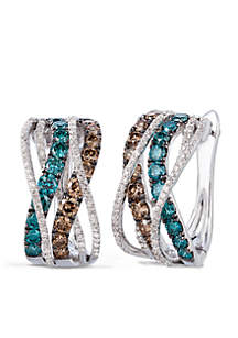 Le Vian Exotics Earrings with Ice Blue, Chocolate and Vanilla Diamonds in 14K Vanilla Gold
