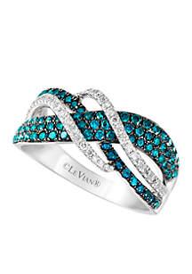 Le Vian Exotics Blue Diamonds and Vanilla Diamonds Ring set in 14K Vanilla Gold