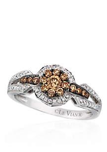 Chocolatier® Vanilla Diamonds® and Chocolate Diamonds® Ring Set in 14k Vanilla Gold®