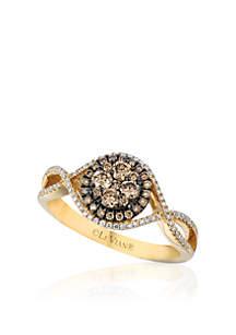 Vanilla Diamonds and Chocolate Diamonds Ring set in 14K Honey Gold