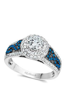 Exotics® Ring with 1.1 ct. t.w. Vanilla Diamonds® and 1/4 ct. t.w. Blueberry Diamonds® in 14k Vanilla Gold®