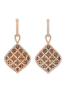 Le Vian Chocolatier Vanilla Diamonds and Chocolate Diamond Plaid Earrings set in 14k Strawberry Gold