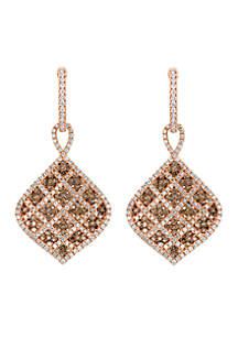 Le Vian Chocolatier Vanilla Diamonds and Chocolate Diamond Plaid Earrings set in 14k Strawberry Gold