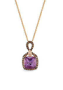 Grape Amethyst and Chocolate & Vanilla Diamonds Pendant in 14k Strawberry Gold