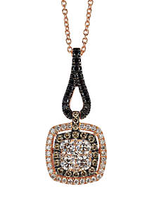 Exotics® 1/2 ct. t.w. Vanilla Diamonds®, 1/8 ct. t.w. Chocolate Diamonds®, and 1/8 ct. t.w. Blackberry Diamonds® Pendant Set in 14k Strawberry Gold®