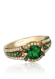 Exotics® Pistachio Diopside® Ring in 14k Honey Gold™