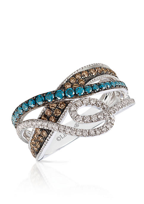 Le Vian Exotics Blue Diamonds, Chocolate Diamonds and Vanilla Diamonds Ring set in 14K Vanilla Gold