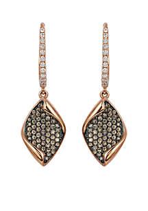 Le Vian Chocolatier Vanilla Diamonds & Chocolate Diamond Earrings set in 14K Strawberry Gold.