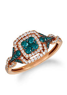 Le Vian Exotics Ring with Blue and Vanilla Diamonds in 14K Strawberry Gold