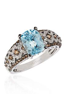 Le Vian Sea Blue Aquamarine and Chocolate & Vanilla Diamonds Ring in 14k Vanilla Gold