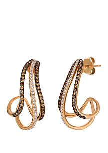 1/2 ct. t.w. Chocolate Diamonds® and 1/3 ct. t.w. Vanilla Diamonds® Earrings in 14k Strawberry Gold®