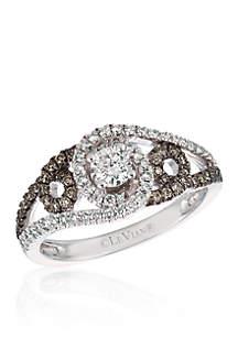 Vanilla Diamonds® and Chocolate Diamonds® Ring in 14K Vanilla Gold®