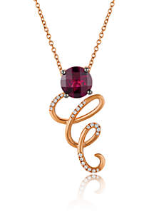 Raspberry Rhodolite® and Vanilla Diamonds® Pendant in 14k Strawberry Gold®