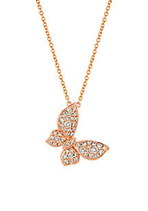 1/2 ct. t.w. Nude Diamonds™ Adjustable Pendant Bracelet in 14K Strawberry Gold