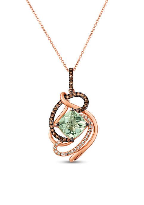 Creme Brulee® 1/4 ct. t.w. Mint Julep Quartz™, 1/3 ct. t.w. Chocolate Diamonds®, 1/6 ct. t.w. Nude Diamonds™ Pendant Necklace in 14K Strawberry Gold®