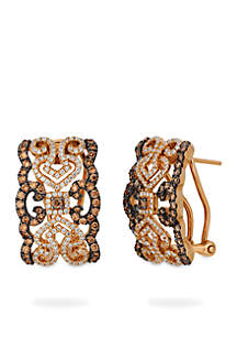 Le Vian Chocolatier Earrings with Chocolate and Vanilla Diamonds in 14K Strawberry Gold