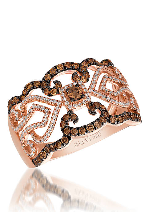 Le Vian Red Carpet Ring with Chocolate and Vanilla Diamonds in 14K Strawberry Gold