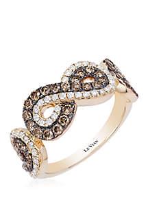 3/5 ct. t.w. Chocolate Diamonds® and 3/10 ct. t.w. Vanilla Diamonds® Ring in 14k Honey Gold™