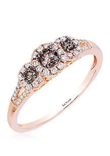 1/5 ct. t.w. Chocolate Diamonds® and 1/5 ct. t.w. Vanilla Diamonds® Ring in 14k Strawberry Gold®