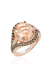 Le Vian Red Carpet Peach Morganite and Chocolate & Vanilla Diamonds Ring in 14k Strawberry Gold