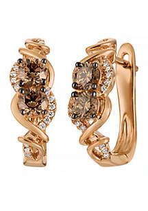 Le Vian Chocolatier Earrings Chocolate Diamonds and Vanilla Diamonds in 14K Strawberry Gold