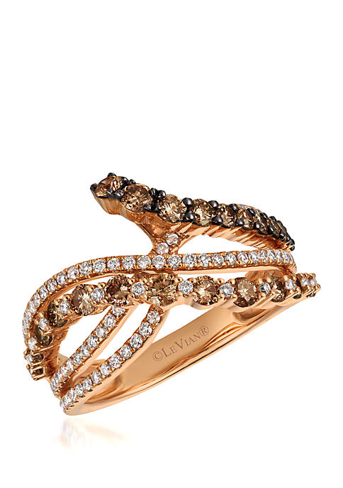9/10 ct. t.w. Chocolate Diamonds® and 2/5 ct. t.w. Vanilla Diamonds® Ring in 14k Strawberry Gold®