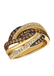 Chocolate & Nude Diamonds 14k Honey Gold Ring