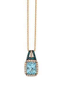 Le Vian® 2.33 ct. t.w. Exotics® Sea Blue Aquamarine®, 1/5 ct. t.w. Vanilla Diamonds®, and 1/8 ct. t.w. Blueberry Diamonds® Pendant in 14k Strawberry Gold®