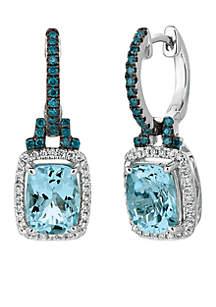 Le Vian Exotics Sea Blue Aquamarine, Vanilla Diamonds, and Blueberry Diamonds Earrings in 14k Vanilla Gold