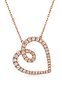 3/4 ct. t.w. Nude Diamonds™ Heart Adjustable Necklace in 14k Strawberry Gold®