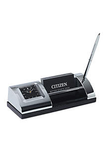 Silver-Tone Desk Clock with Black Dial