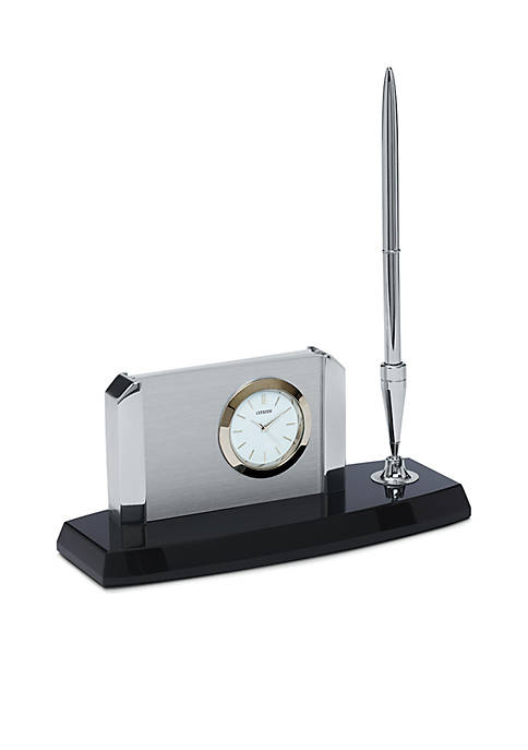 Citizen Silver-Tone Circular Desk Clock with White Dial