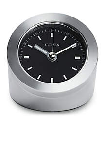 Citizen Silver-Tone Workplace Circular Clock with Black Dial