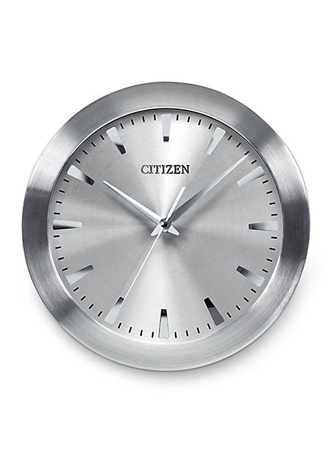 Brushed Silver-Tone Citizen Gallery Wall Clock