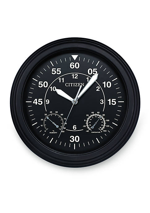 Citizen Outdoor Luminescent Black Wall Clock