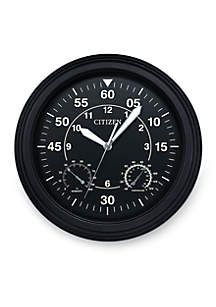 Citizen Outdoor Luminescent Black Wall Clock - Hygrometer and Thermometer